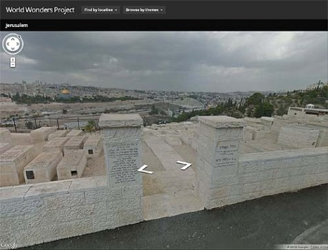 "Despite its effort to erase Jewish ownership of the city, the virtual tour of ""Jerusalem, Asia"" begins with a view of Temple Mount from the Jewish cemetery on Mt. Olives."