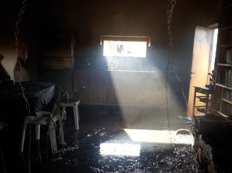 Orbach family home, Chavat Gilad, destroyed by arsonists