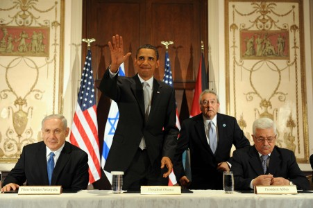 Another photo op: President Obama with Prime Minister Netanyahu and President Abbas