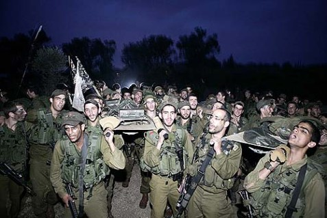 Haredi Neztah Yehuda Battalion recruits complete the final stages of a 40 kilometer journey with stretchers through the night, Feb. 2010.