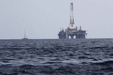 A natural gas drill rig in the Mediterranean.