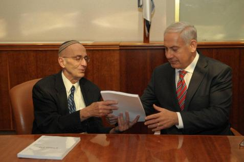 Prime minister Benjamin Netanyahu receives the report regarding the status of Jewish settlement of Judea and Samaria from retired judge Edmond Levy