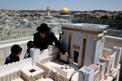 Model of the Temple on top of the Aish Yeshiva with Temple Mount in Background