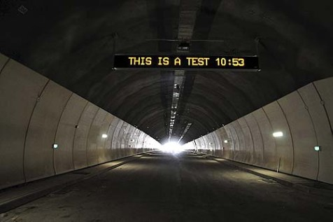 Traffic control sign being tested at the exit of the Mt. Carmel tunnel. Haifa Mayor Yona Yahav thinks of using the tunnels as bomb shelters.