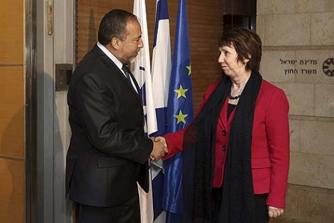 Israel's Foreign Minister Avigdor Liberman with Catherine Ashton, High Representative for Foreign Affairs and Security Policy of the European Union. The FM has requested the Quartet's help in ousting PA Presiden Mahmoud Abbas.