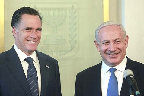 Israel's Prime Minister Benjamin Netanyahu with U.S. Republican presidential candidate Mitt Romney in Netanyahu's office in Jerusalem in late July.