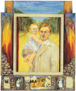 Zora and Michael Kurz (1990) 75 x 60 x 7, oil on paper on linen by Diana Kurz