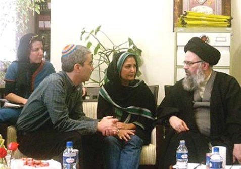 "Some of the ""Rabbis for Obama"" group in conversation with an Ayatollah on their recent visit to Iran."