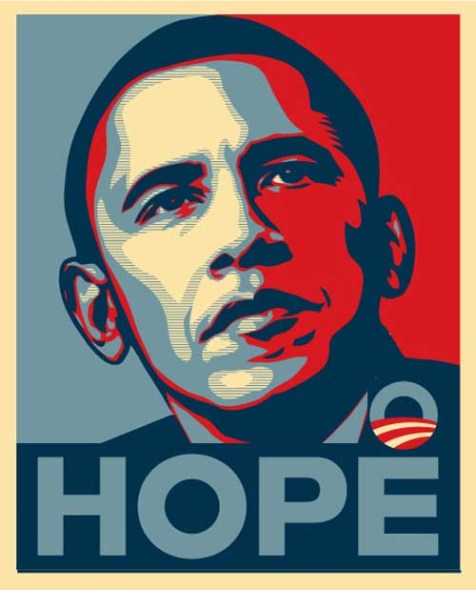 "Barack Obama ""Hope"" poster (edited) originally by Shepard Fairey. The poster represents one of the ways Obama was branded and his image sold to the electorate."