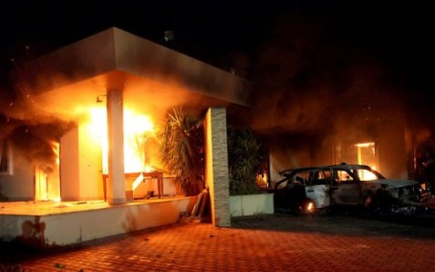 US consulate in Benghazi on fire.