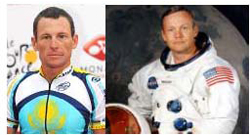 (L-R) Lance Armstrong and Neil Armstrong
