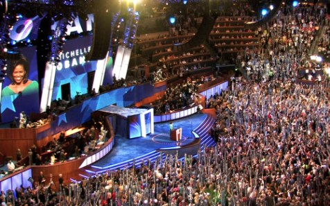Michelle Obama speaking at the Democratic National Convention, Aug. 25, 2008.
