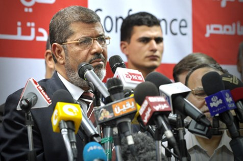 Mohammed Morsi announcing himself Egypt's president after the second round of Egypt's presidential elections, June 18, 2012.