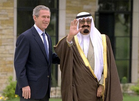 President George W. Bush with Crown Prince (now King) Abdullah of Saudi Arabia at the Bush Ranch in Crawford, April 25, 2002. Saudi Arabia is considered on of the leaders of the Sunni faction of Islam in the struggle against the Shi&#039;a, now led by Iran.