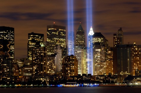 "The ""Tribute in Light"" memorial for the events of Sept. 11, 2001."