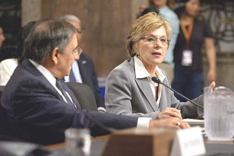 Senator Boxer and Secretary of Defense Leon Panetta at the Senate Armed Services Committee.