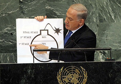 netanyahu bomb photo