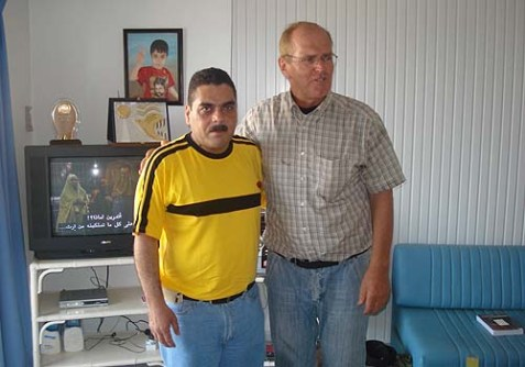 """Franklin Lamb (R), author of """"US Preparing for a Post-Israel Middle East?"""" with child murderer Samir Kuntar."""