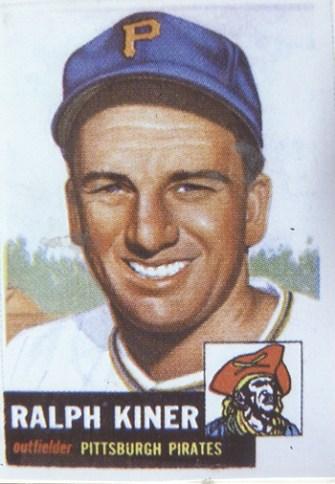 Ralph Kiner's 1953 Topps baseball card.