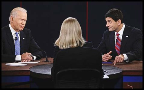 Vice President Joe Biden and Republican Paul Ryan with ABC News moderator Martha Raddatz.