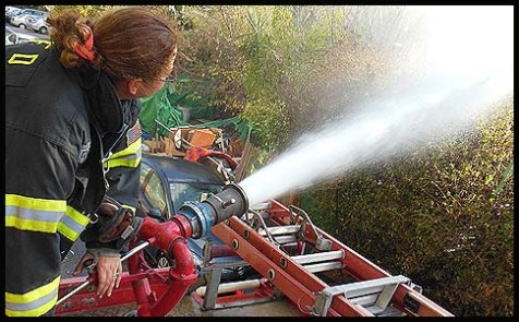 Shoshana Weiner, volunteer firefighter of Long Island, New York, volunteering in Israel with the Petah Tikva fire station in October.