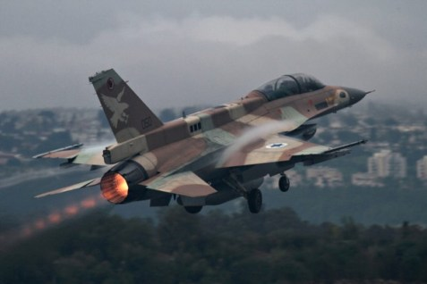 An F-16 fighter jet takes off from Ramat David air force base.