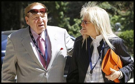 Jewish billionaire businessman Sheldon Adelson and his wife Miriam Ochshorn.