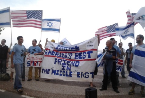 Israeli students show support for the U.S. outside the U.S. Embassy in Tel Aviv, Oct. 1, 2012.