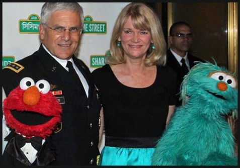 ABC News' Martha Raddatz with at least two anti-Romney activists.