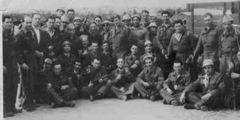 Lt. Yehuda Bielski (center) with his men during the rebirth of the Jewish State