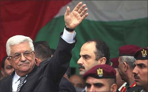 Palestinian President Mahmoud Abbas at a rally supporting the Palestinian UN bid for observer state status, in Ramallah, Nov. 25, 2012.