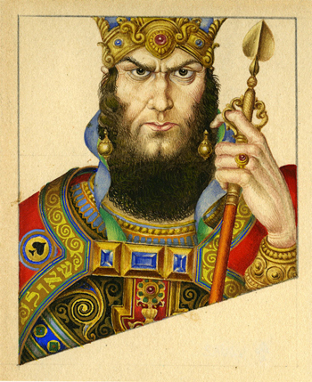 King Saul, King of Spades by Arthur Szyk Heroes of Ancient Israel: Playing Card Art published by Historicana