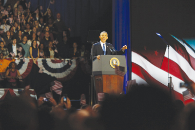 President Obama addresses supporters in Chicago after winning Tuesday's election.