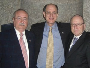 (L-R) Los Angeles County Commissioner Howard Winkler; Rep. Brad Sherman; and Stanley Treitel at the Wallenberg luncheon in Washington.