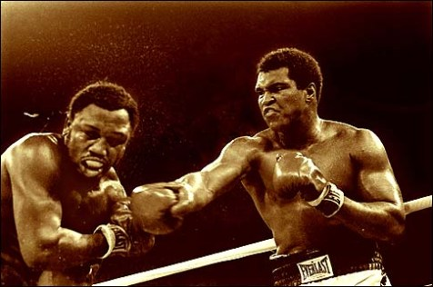 The Ali and Joe Frazier fight in Manila, Philippines, October 1, 1975. Ali won the fight on a decision to retain the title. Frazier was arrested for drunken driving.