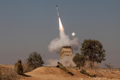 A volley of rockets fired from Gaza was intercepted by the Iron Dome system.