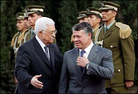 President Abbas (L) greeting Kimg Abdullah