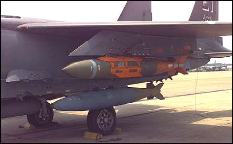 BLU-109 bunker buster bomb aboard an USAF F-15E