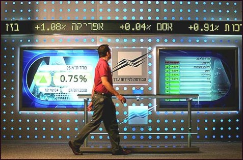 A board showing stock fluctuations at the Tel Aviv stock exchange.