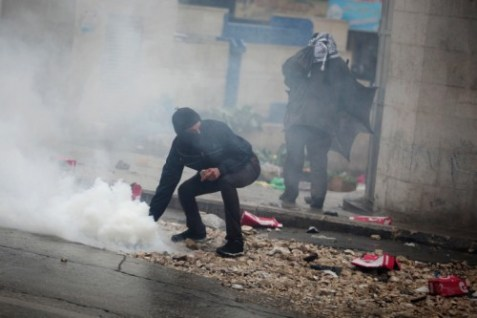 Tear gas is fired by Israeli security forces at Arab rioters. (archive)