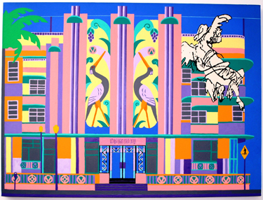 The Miami Beach Eruv (1998) digital print on canvas by Mel Alexenberg