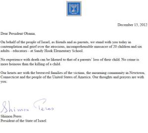 Peres condolence letter to Obama