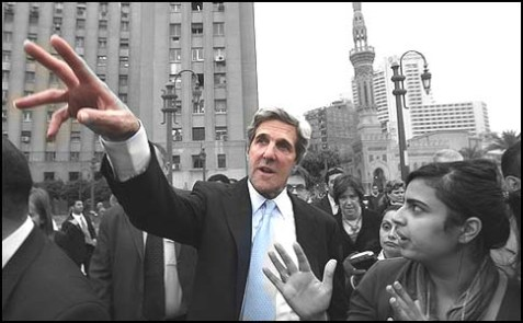 Senator John Kerry visiting Cairo's Tahrir Square, March 20, 2011.