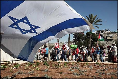 Activists marching from Jaffa Gate to the Sheikh Jarrah neighborhood in East Jerusalem.