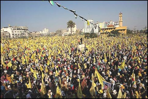 A sea of Arabs in a rally marking the 48th anniversary of the founding of the Fatah movement, held in Gaza City on January 4, 2013.