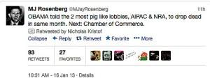 NYT Kristof retweets M.J. Rosenberg's offensive slur