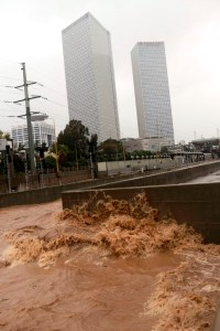 A flooded section of the Ayalon Highway in Tel Aviv.