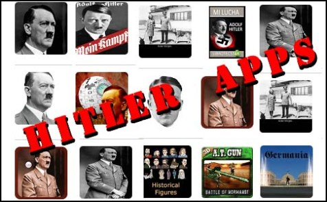 Some of Google Play&#039;s Android Hitler apps.