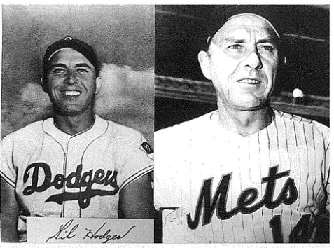 Gil Hodges as a Brooklyn Dodger and as manager of the New York Mets.