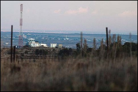 View of a United Nations watch tower near the border of Syria and Israel on the Golan Heights.